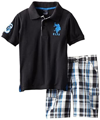U.S. Polo Assn. Boys 2-7 Solid Polo And Plaid Short, Black, 6