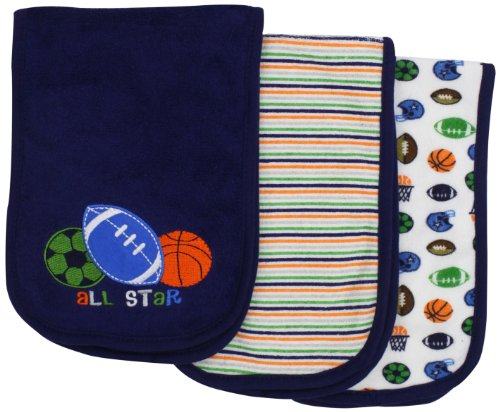 Gerber Baby-Boys  3 Pack Terry Burpcloths Sports, Blue, One Size - 1