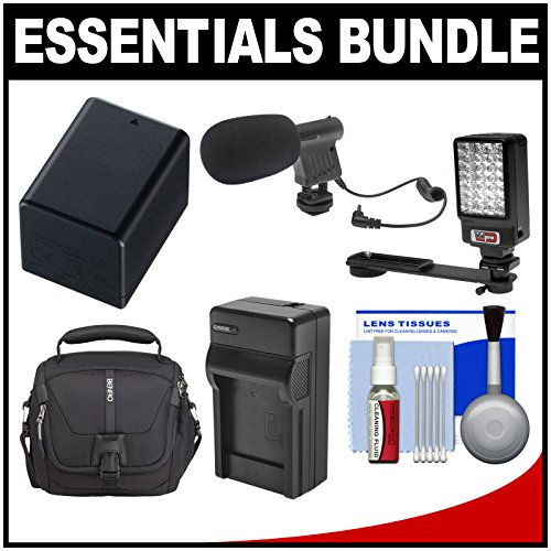 Essentials Bundle For Canon Vixia Hf R30, R300, R32, R50, R500, R52 Camcorder With Case + Led Light + Microphone + Bp-727 Battery & Charger + Cleaning Kit