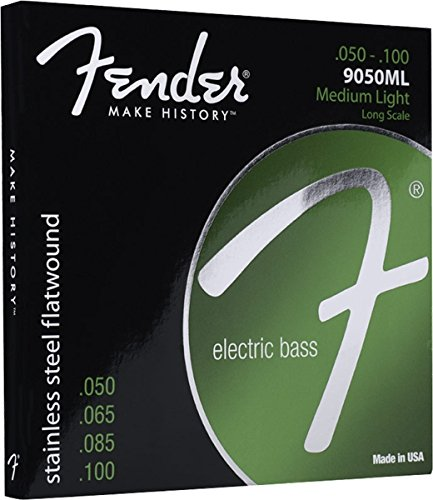 Fender 9050ML Stainless Steel Flatwound Long Scale Electric Bass Guitar Strings - Medium Light (Fender Jazz Bass Accesories compare prices)