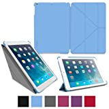 rooCASE Apple iPad Air Case – Slim Shell Origami Case for Apple iPad 5 Air (5th Gen) Tablet, BLUE (With Smart Cover Auto Wake / Sleep)