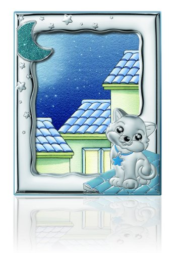 "Silver Touch USA Sterling Silver Picture Kitty Frame, Blue, 5"" x 7"""