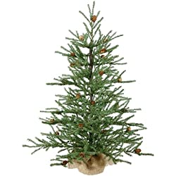 Vickerman Unlit Carmel Pine Artificial Christmas Tree with Pine Cones and Burlap Base, 2.5'