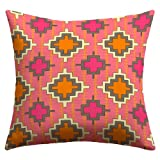 DENY Designs Sharon Turner Tangerine Kilim Outdoor Throw Pillow, 26 by 26-Inch