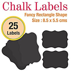 Ultimate Chalkboard Stickers   Fancy rectangle shaped Write-Erase Chalk Labels, works with traditional chalks, Includes 5 Coloured Dustless Chalks   Rustic Chalklables