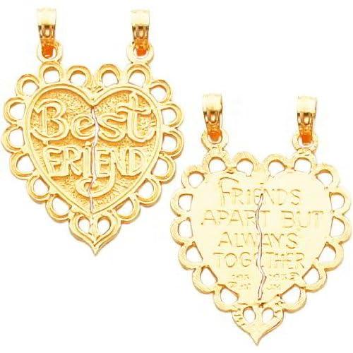 14K Gold Best Friend Heart Breakable Charm