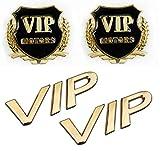 汎用 エンブレム VIP 高級車 4点 セット 金 ゴールド
