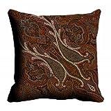 MeSleep Digitally Printed Abstract Paisley Micro Fabric Cushion Cover - Beige