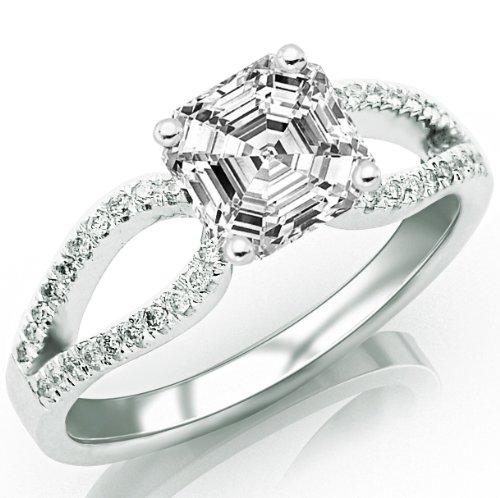 Cheapest 0.72 Carat Asscher Cut / Shape GIA Certified Split Shank Curved Pave Set Diamond Engagement Ring ( E Color , VVS2 Clarity )