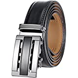 Marino Men's Genuine Leather Ratchet Dress Belt With Automatic Buckle, Enclosed in an Elegant Gift Box - Black and Silver - Fits waist sizes up to 44