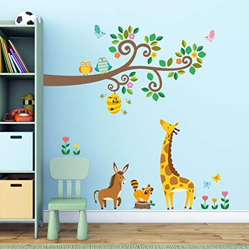 Decowall-DW-1512Scroll-Branches-and-Animals-peel-stick-Nursery-wall-decals-stickers