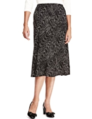 Classic Monochrome Abstract Print Long Skirt