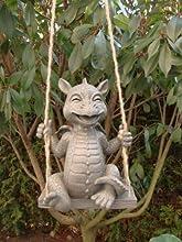 Dragon sentado figura de gárgola Swing Garden