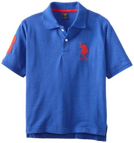 U.S. Polo Assn. Big Boys' Solid Short Sleeve, Cobalt/Red, 18