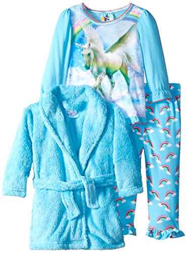Baby Bunz Baby Girls' 3 Pieces Unicorn Dreams Robe and Pajama Set, Blue, 18 Months