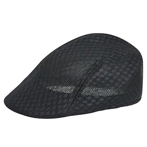 Harimao 涼しい ハンチング キャップ 帽子 メンズ レディース 無地 メッシュ (ブラック)