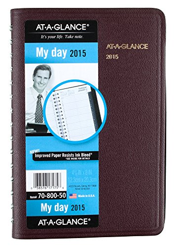At-A-Glance Daily Appointment Book 2015, Wirebound, 4.88 X 8 Inches Page Size, Burgundy (70800-50)
