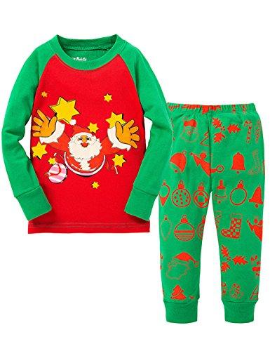 Tkria Natale Costume Bambino Bambini Pigiama 2 Pezzi per Bimbi Ragazzi e Rragazze 1-7 Anni