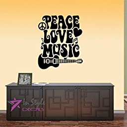 Wall Vinyl Decal Home Decor Art Sticker Peace Love Music Words Sign Guitar and Peace Symbol Notes Room Removable Stylish Mural Unique Design