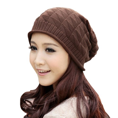 LOCOMO Women Girl Triangle Pattern Slouchy Knit Beret Beanie Crochet Rib Hat Cap Warm FAF028BRN Brown