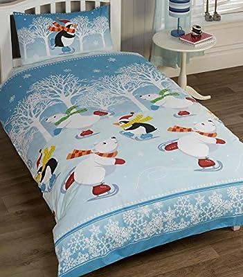 Kids Polar Bear & Penguin Christmas Theme Duvet Set & Pillowcase SINGLE