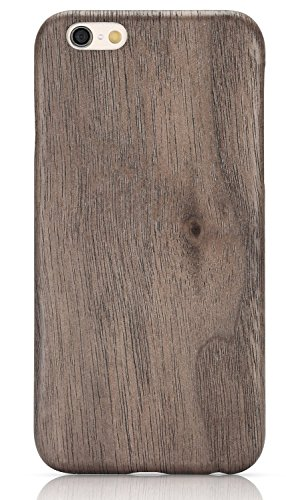 PITAKA® iPhone6Plus / iPhone6sPlus (5.5インチ)用絶版ケース 木製 黒くるみ天然木ケース 高級木製 ウッド iPhone6プラス iPhone 6s Plus 保護木ケース 薄いケース 木目 強化ガラスフィルム付き