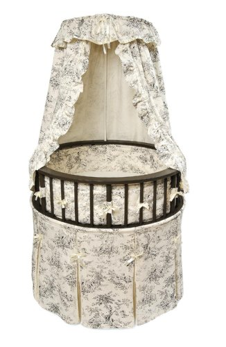 Best Price Badger Basket Elegance Round Baby Bassinet, Black with Black Toile