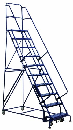 Louisville Ladder GSW2411 Rolling Warehouse Ladder with 24-Inch Step Width and Handrails, 110-Inch Platform Height, 11-Step
