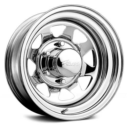 Pacer Chrome Spoke 15x7 Chrome Wheel / Rim 5x5 with a -6mm Offset and a 83.82 Hub Bore. Partnumber 315C-5750 (1994 Chevy Caprice Rims compare prices)