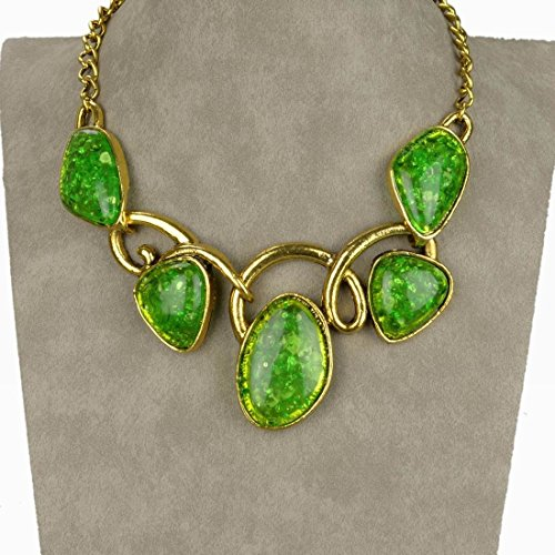 Vintage Style 18K Gp Green Gold Plated Twist Jelly Bib Necklace Pendant