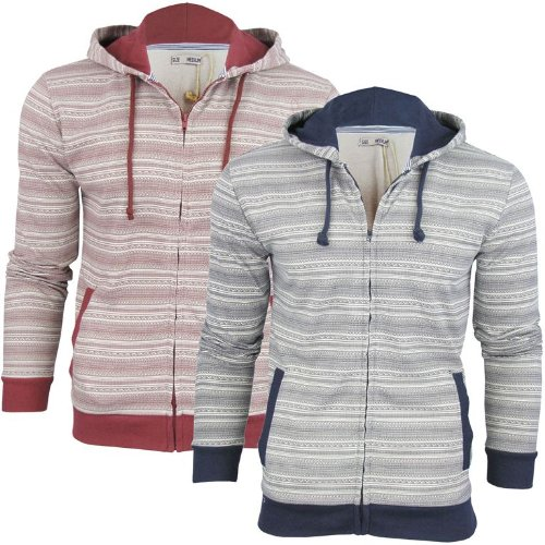Mens Brave Soul Aztec Nordic 'GREG' Hoodie/ Hooded Zip Jumper/ Sweatshirt