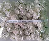 WHITE 100 Artificial Mulberry Paper Rose Flower Wedding Scrapbooking Craft 2cm