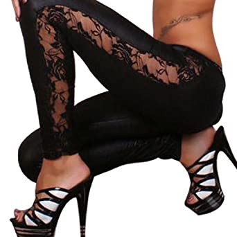 Amour Sexy Black Goth Punk Wetlook Leggings