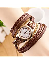 Joker & Witch Chain Wrap Around Brown Bracelet Women's Watch