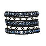 Womens Long Seed Bead Dyed Freshwater Cultured Pearl Wrap Around Leather Bracelet (Black & White)