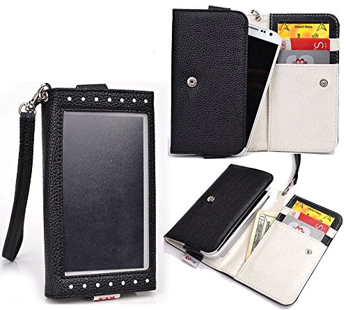 Nuvur ™ Expose Pu Leather Wallet [Black] For Sony Xperia Z3 Compact (Aka Sony D5803, D5833)(W/Handstrap&Cardslots)