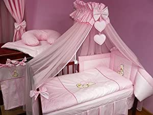 baby bettset luxus 8 teilig riesiger himmel farbe herz rosa baby. Black Bedroom Furniture Sets. Home Design Ideas