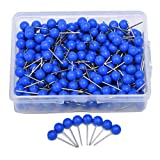 JoyFamily Map Tacks Push Pins, 1/5 Inch Round Plastic Head with Stainless Steel Point, 300 Pieces (Blue) (Color: Blue)