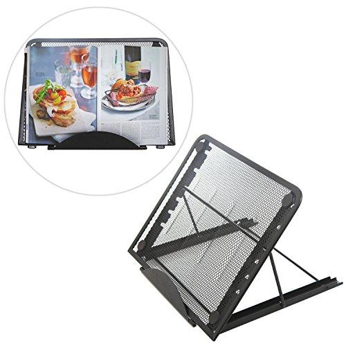 Modern Black Metal Mesh Portable Adjustable Laptop & Tablet Stand / Tabletop Book & Magazine Holder