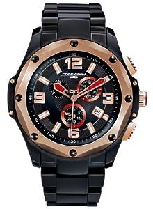 Jorg Gray Mens 9100 Chronograph - Black & Rose Gold Steel - Bracelet
