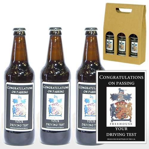 PERSONALISED 'Congratulations On Passing Your Driving Test' Ale Gift Box - 3 x 500ml Yorkshire Ales with 'Congratulations On Passing Your Driving Test' on the Labels in a Gift Box