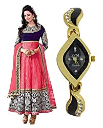 LegendDeal White Georgette Designer Anarkali Salwar Suits with Embroidered Neck and SVM Watch Combo