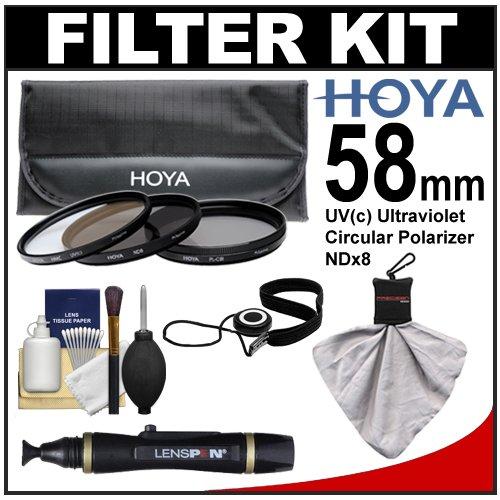 Hoya 58mm 3-Piece Digital Filter Set (HMC UV Ultraviolet, Circular Polarizer & ND8 Neutral Density) with Case + Cleaning Kit for Canon, Nikon, Sony, Olympus & Pentax Lenses