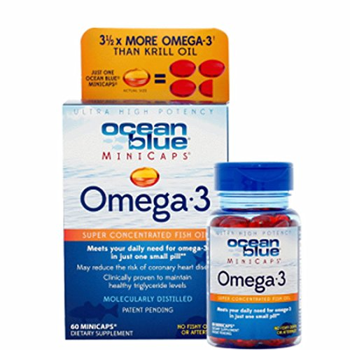 Ocean Blue Professional Omega 3 MiniCaps - Fish Oil - More Omega 3 Than Krill - No Fishy Taste - Pharmaceutical Grade - Small Size - Easy to Swallow,60 count (Ocean Kids Omega compare prices)