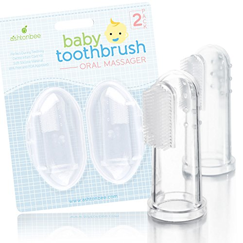 Baby Toothbrush Oral Massager (2 Pack) - Perfect During Teething, Gentle Infant Care Kit by Ashtonbee (First Baby Finger Food compare prices)