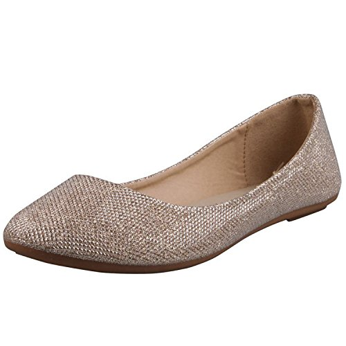 REFRESH DEMI-07 Women's Glitter Shinny Ballerina Ballet Slip On Flats,7.5 B(M) US,Gold