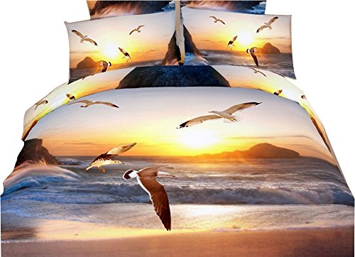 Seagull items - JINFU Home Textile,Special 3D Bedding Sets,Flying Sea Gull Bedding Sets,Queen Size,4 pieces