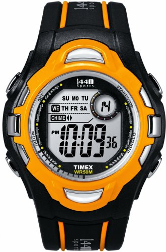 Timex Youth 1440 Sports Black Orange Resin Strap Watch T5K276