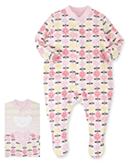 3 Pack Pure Cotton Floral & Spotted Sleepsuits