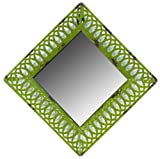 Faux Distressed Metal Green Square Mirror 8 3/4Dx